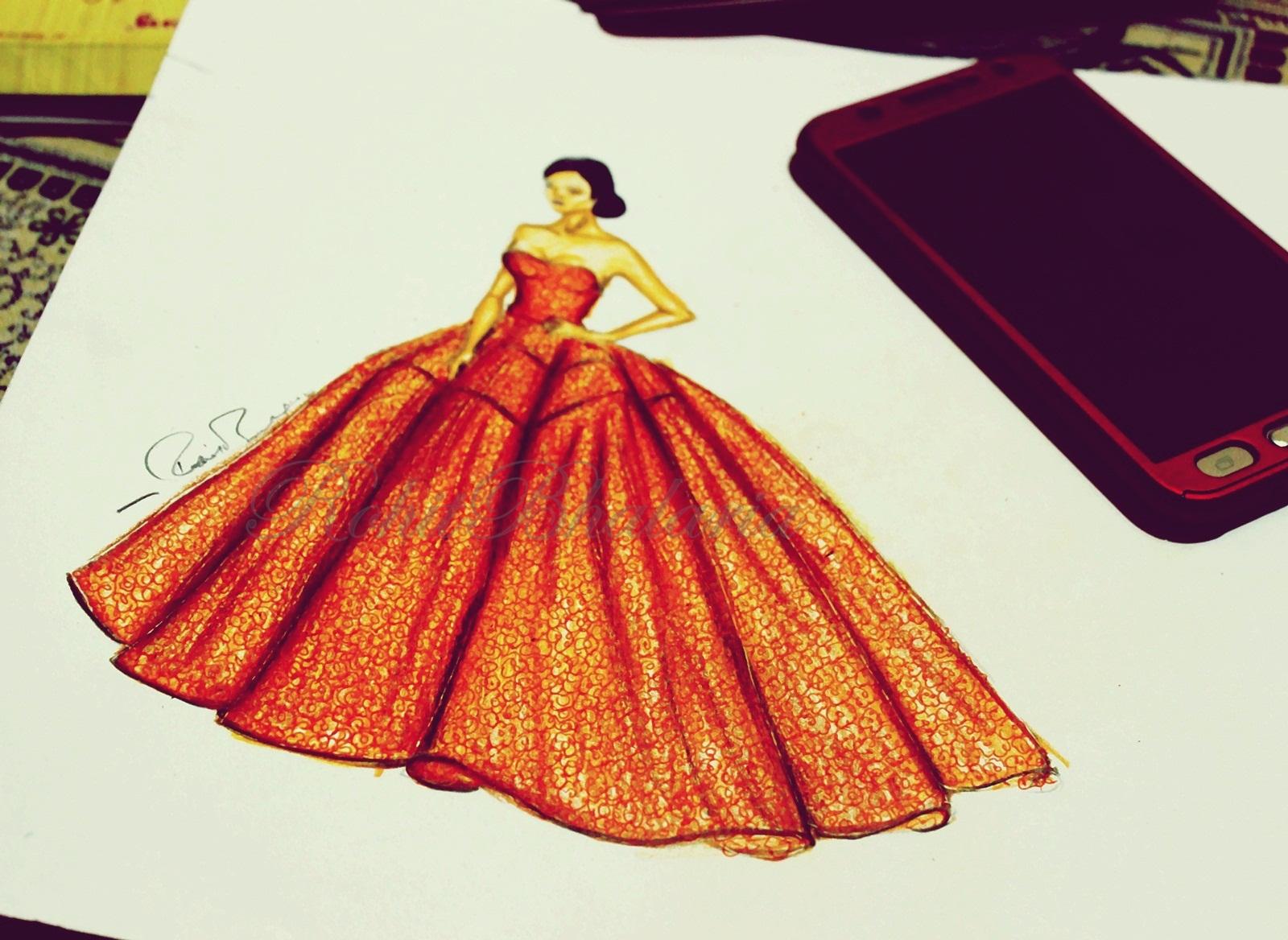 ROHIT BHALARIA: How to draw a cinderella dress