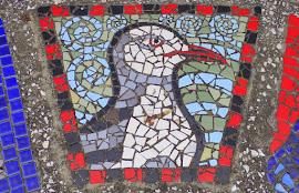 Red eyed gull mosaic, Petone Beach