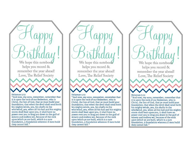 free printable tag for birthday gifts from RS Presidency