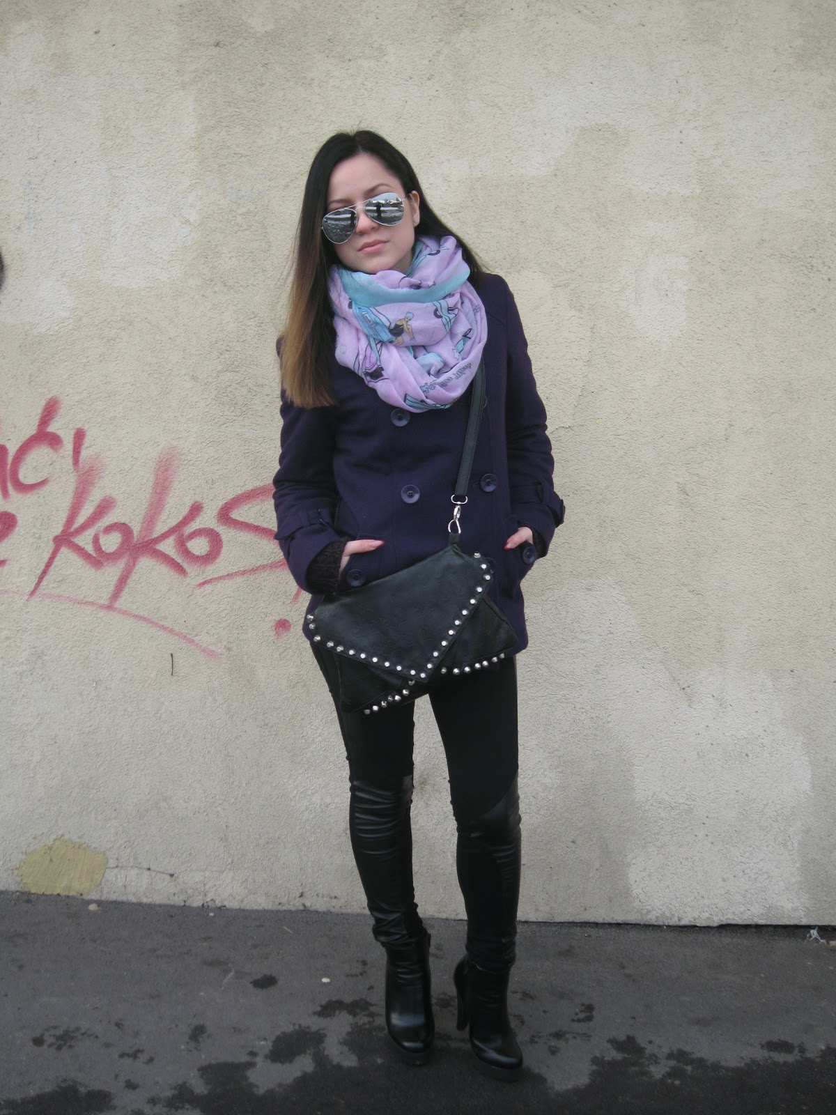 purple coat, winter outfit