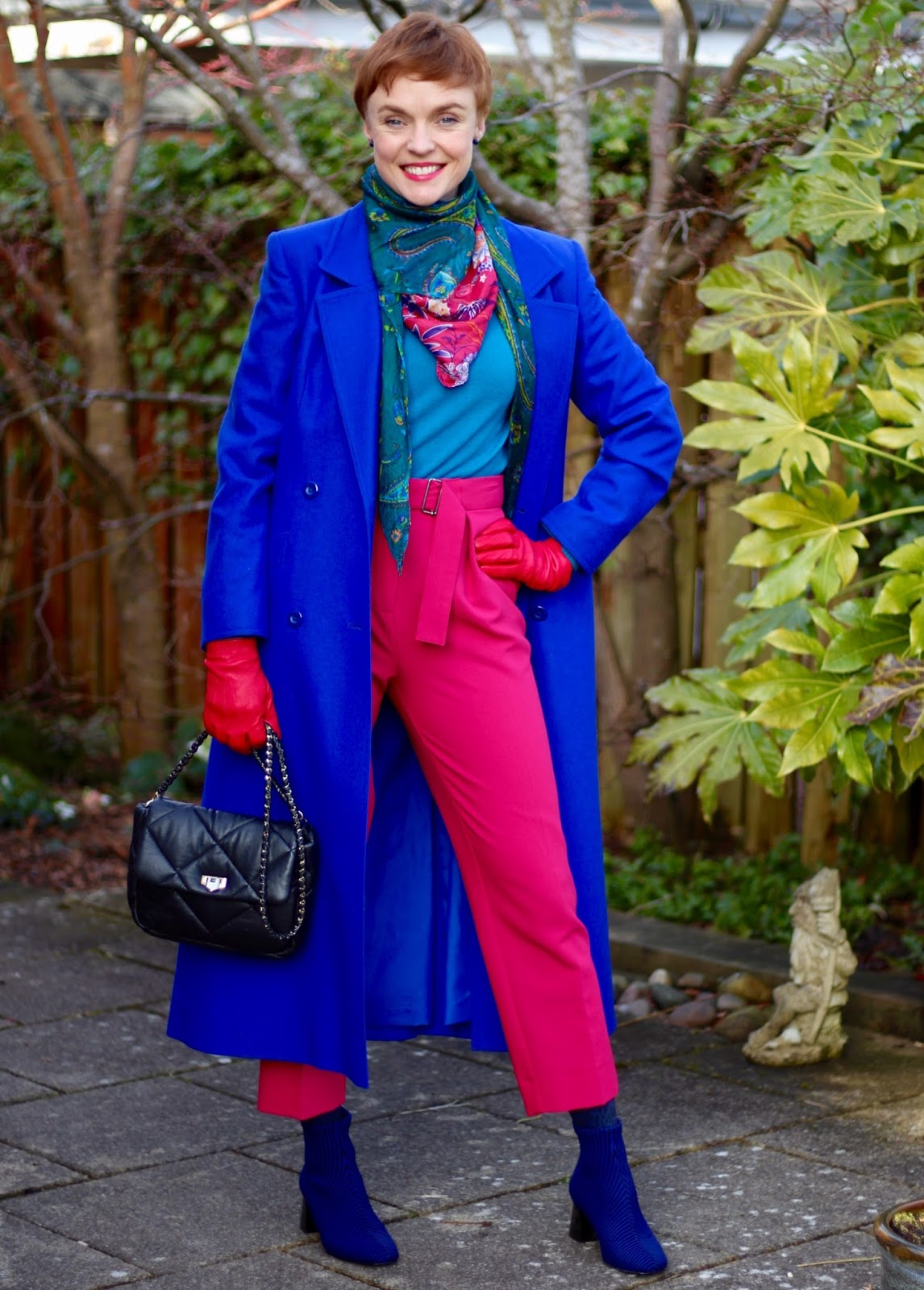 Cobalt coat, striped sock boots & hot pink trousers | Fake Fabulous
