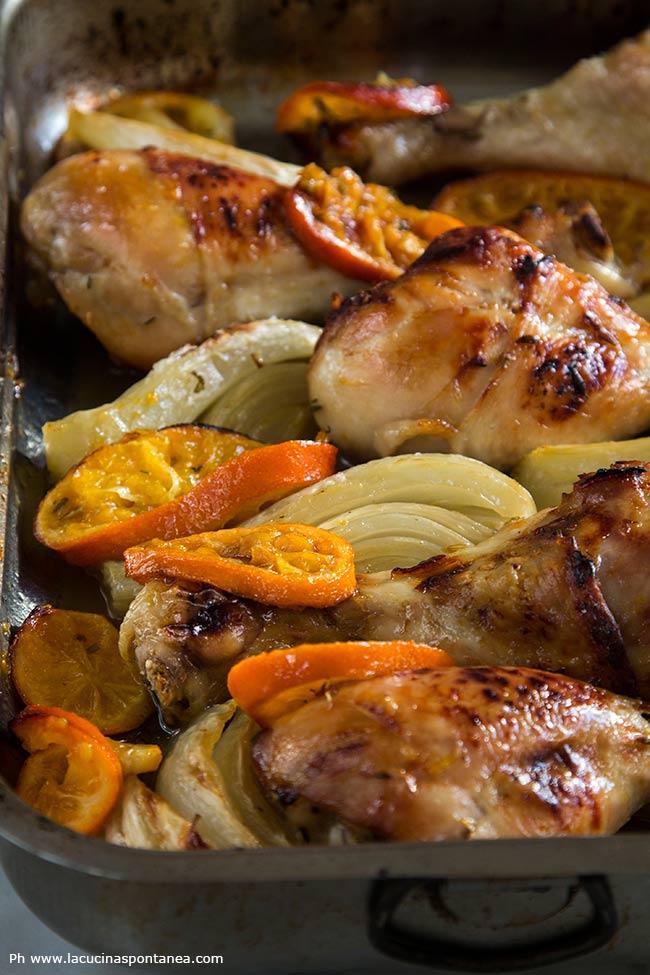 Teglia con pollo arrosto con clementine e finocchi di Ottolenghi