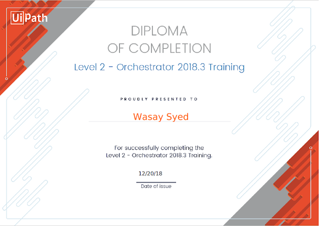 UiPath - Diploma Of Completion - Level 2 - Orchestrator