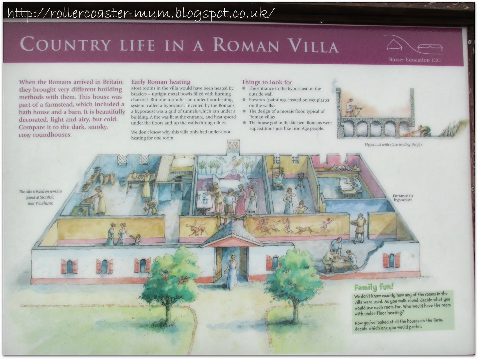 information board, Roman Villa, Butser Ancient Farm