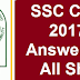 SSC CGL 2017 Tier 1 Answer Key For All Shifts Download PDF