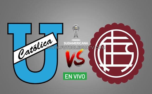 Universidad Católica y Lanús se enfrentan en vivo por la ida vuelta de la Copa Sudamericana a realizarse en el Estadio Olímpico Atahualpa a partir de las 19H30 horario local, teniendo como juez principal Gery Vargas con transmisión del canal oficial DirecTV Ecuador.