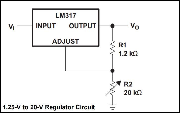 bread board power supply by lm317