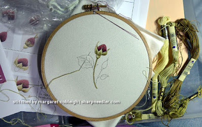 Burgundy Rosebuds (by Trish Burr): Main thread painted rosebud completed