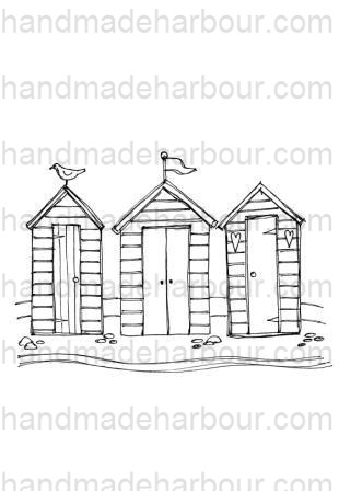 Beach Hut Drawing Sketch Coloring Page