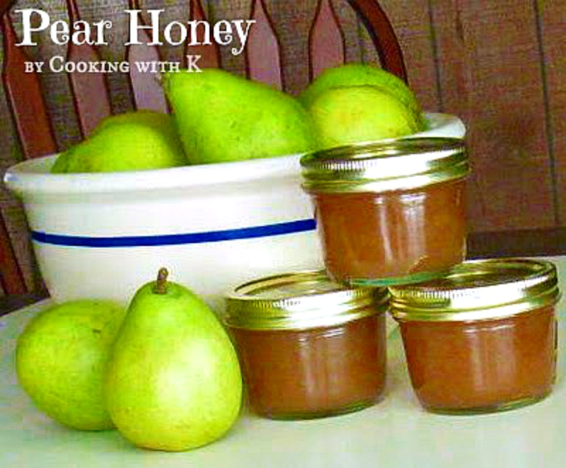 Pear Honey is just a little thicker than traditional honey and thinner than a preserve or jam.