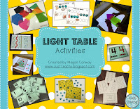 Light Table Activities:Numbers, Shapes, Seasons, Letters, CVC Words, www.JustTeachy.com