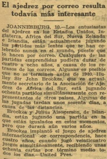 Implantación del ajedrez por correspondencia en 1931