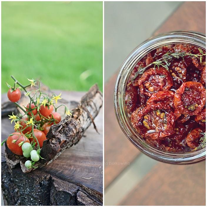 Pieczone pomidorki koktajlowe z czosnkiem, tymiankiem i malinowym octem balsamicznym