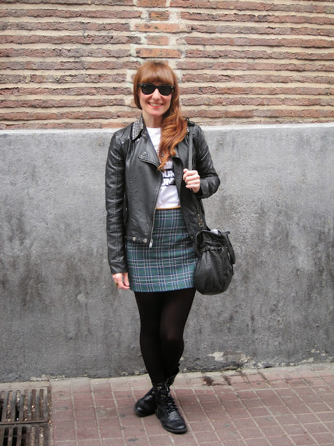 plaid skirt leather jacket
