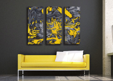 yellow, grey, abstract, wall art, canvas art, contemporary, canvas print, large art, Sam Freek, artist, limited edition,