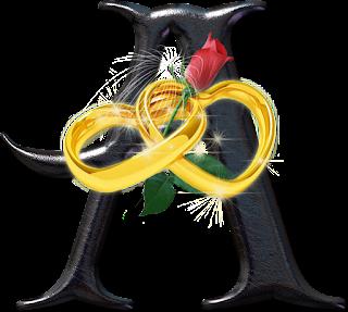 Alfabeto Negro con Corazones Dorados y Rosa Roja.