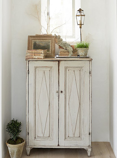 Beautiful modern farmhouse antique Swedish cupboard at Patina Farm...decor inspiration on Hello Lovely Studio