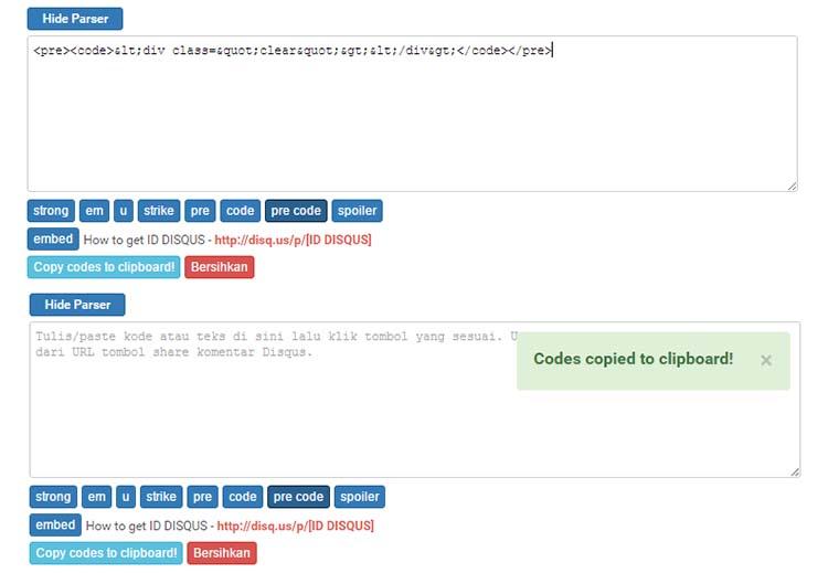 Update Copy To Clipboard Parser Codes Untuk Disqus Blog AMP
