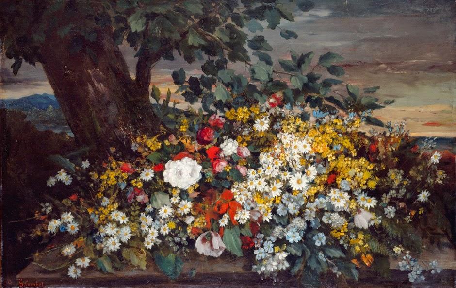 Gustave Courbet - Blumen auf einer Bank, 1862