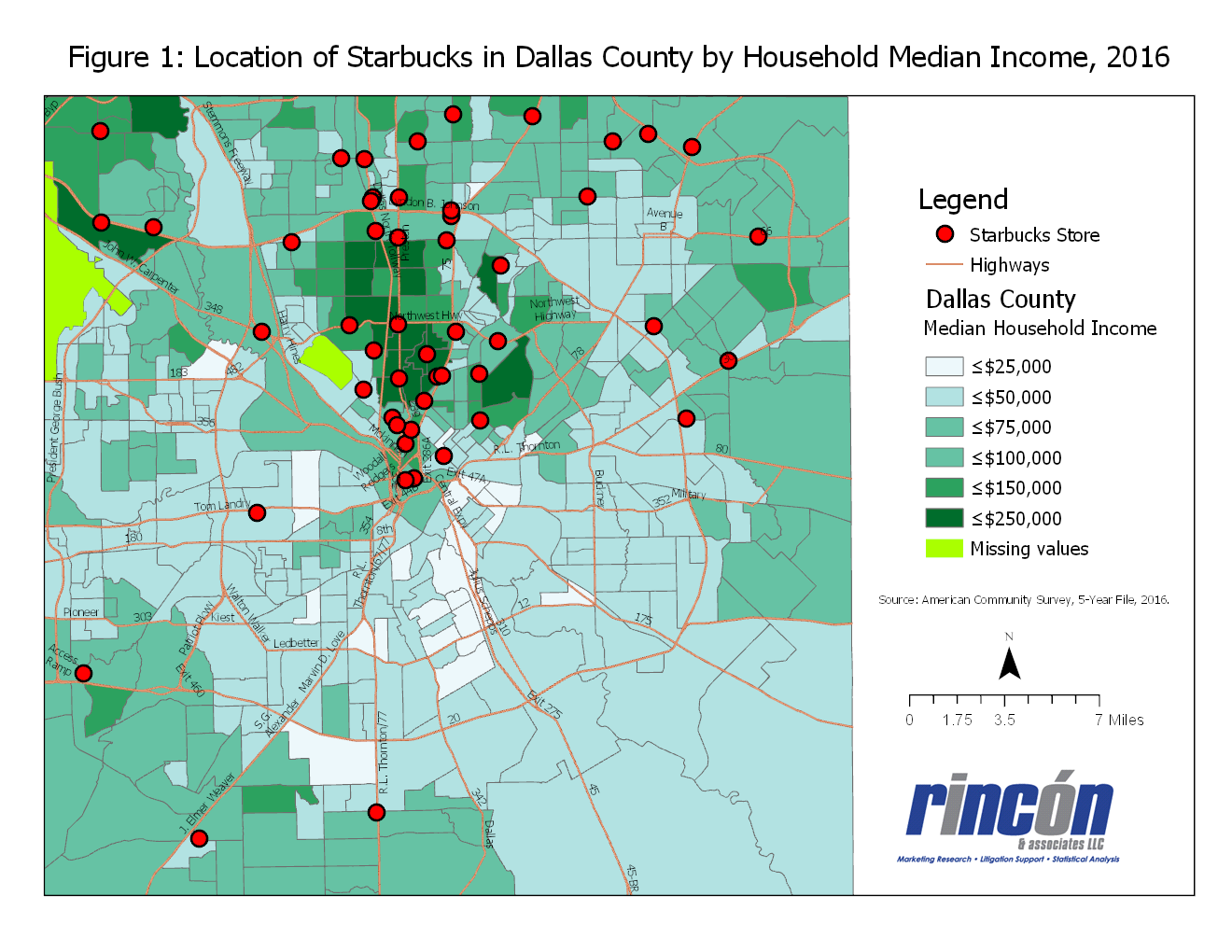 even communities with median incomes of 100 o00 or higher in the south west and southeast part of dallas county reveal few starbucks stores