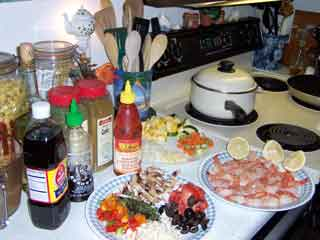 Shrimp thang ingredients all