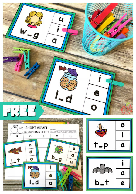 Free short vowel CVC phonics activity