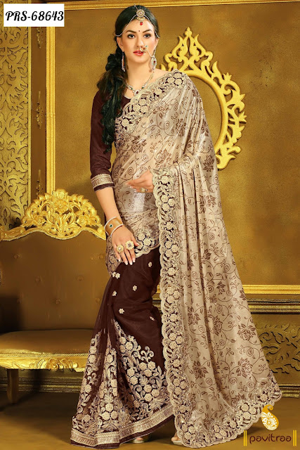 Buy Online Fancy Brown Color Silk Wedding Wear Collection Designer Sarees In Cheap Price
