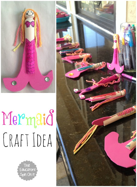 DIY Ocean Themed Birthday Party Decorations including a Mermaid Craft Idea