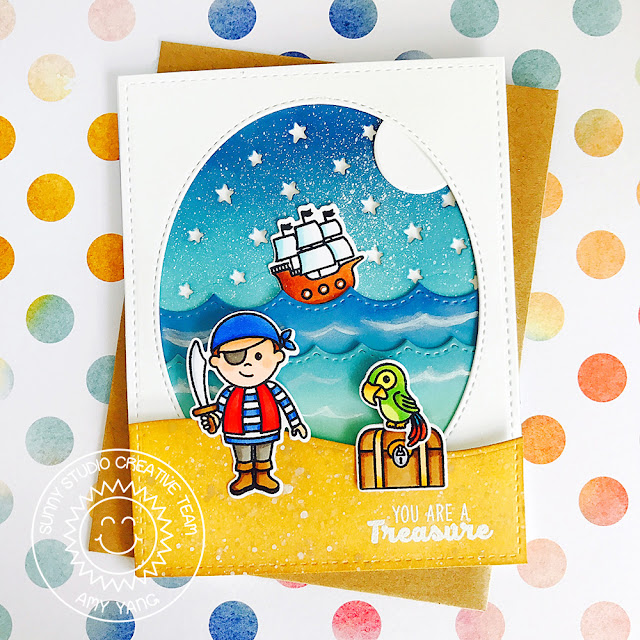 Sunny Studio Stamps: Pirate Pals Masculine Themed Pirate Card by Amy Yang