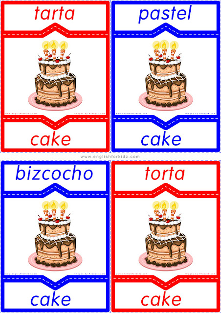 English Spanish flashcards, cake in Spanish, regional differences of Spanish