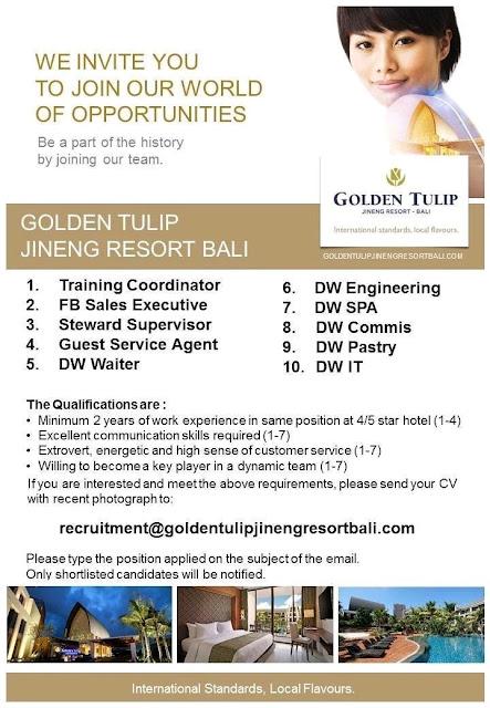 Lowongan kerja Golden Tulip Jineng Resort September 2018