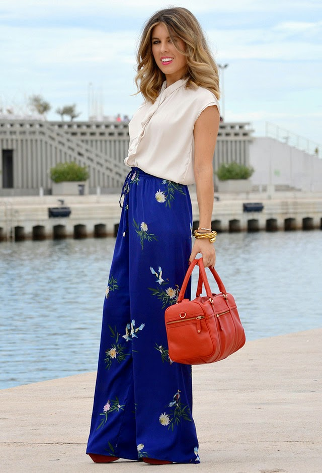 Wearing a Zara Floral Blue Palazzo with Red Mango Bag