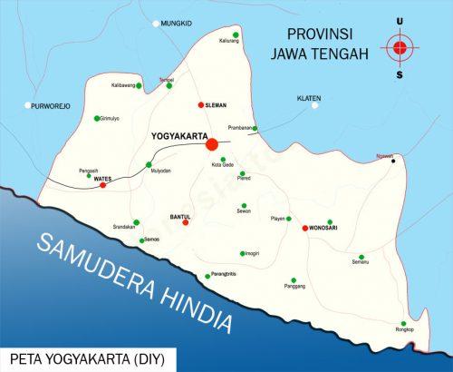 Peta Yogyakarta lengkap 4 kabupaten dan 1 kota - Sejarah ...
