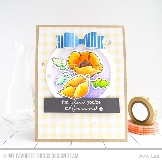 Handmade card from Amy Lee featuring Lisa Johnson Designs Delicate Pretty Poppies stamp set, Poppies and Leaves, Stitched Circle Scallop Frames, Beautiful Bows, and Stitched Fishtail Frames Die-namics #mftstamps