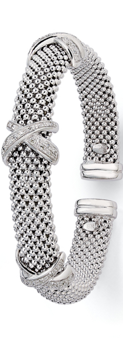 Diamond Mesh X Bracelet in Sterling Silver
