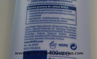 Aceite En Loción, Flor De Naranjo De Nivea, ingredientes