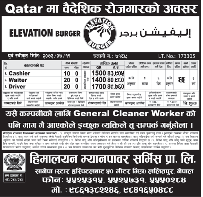 Jobs For Nepali In Qatar Salary- Rs. 49,760/