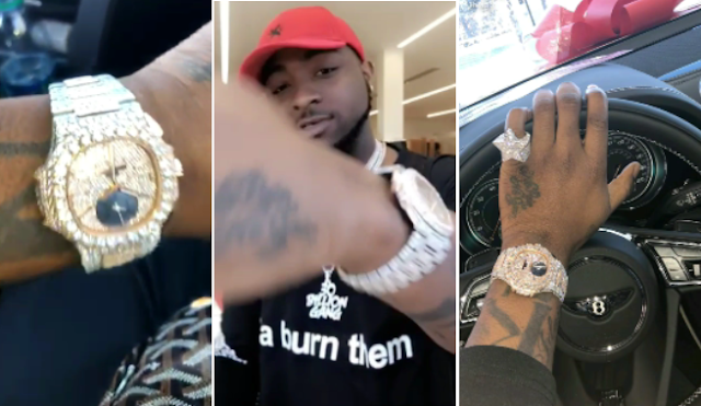 VIDEO: Davido shows off his new N54 Million Naira Partek WristWatch