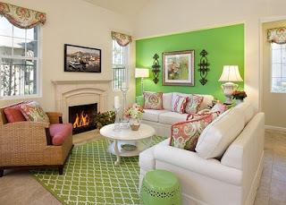 Sala en blanco y verde