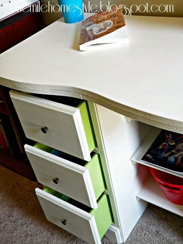 Vintage Kids Desk Makeover - White with Green Drawers | One Mile Home Style