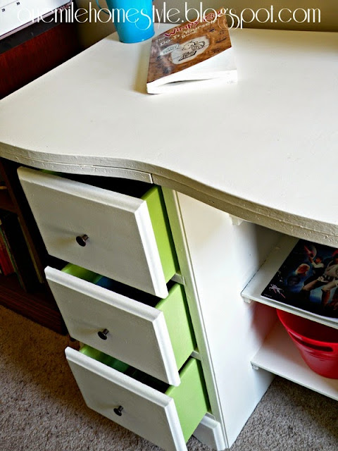 Vintage Kids Desk Makeover - White with Green Drawers