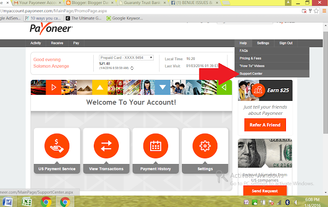 how to change your payoneer card pin