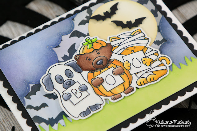 Boo Halloween Card by Juliana Michaels featuring Newton's Nook Designs Halloween Trio Stamp Set and Flying Bats Stencil