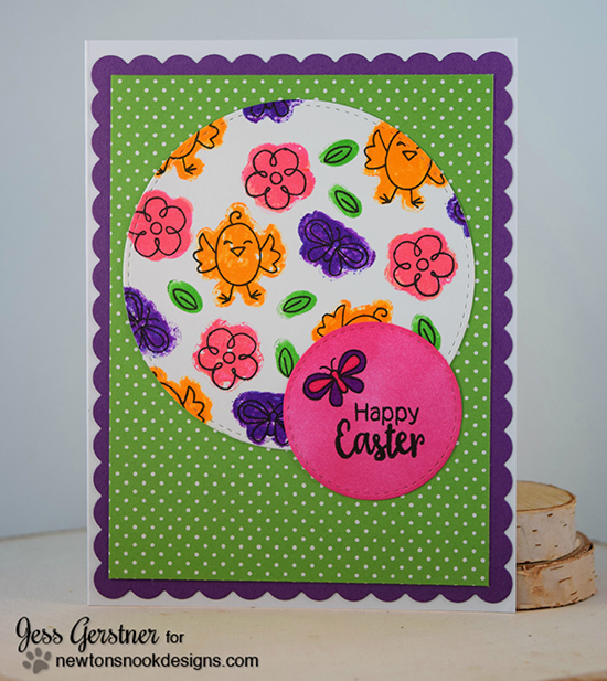 Easter card by Jess Gerstner | Hello Spring Stamp set by Newton's Nook Designs #newtonsnook #bunny #spring