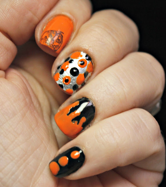 sally hansen, halloween 2016, dots, stamping, nail drip, press sample, gel nails