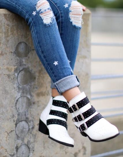 Madison and Mallory stellar white booties