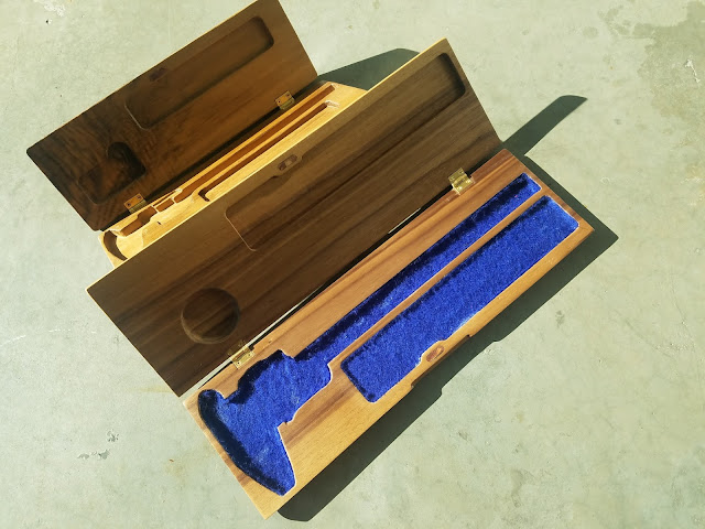 small and large walnut calipers boxes