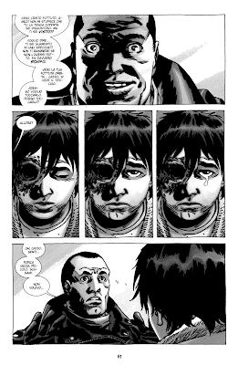 """Negan deride Carl (tavola tratta dal volume 18 di TWD """"Cosa succede dopo"""" - © SaldaPress)"""