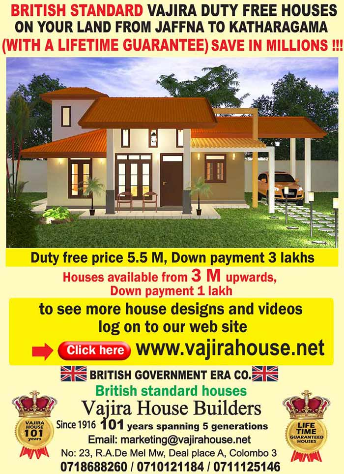 Vajira house builders save in millions powercampaigner for Vajira house home plan