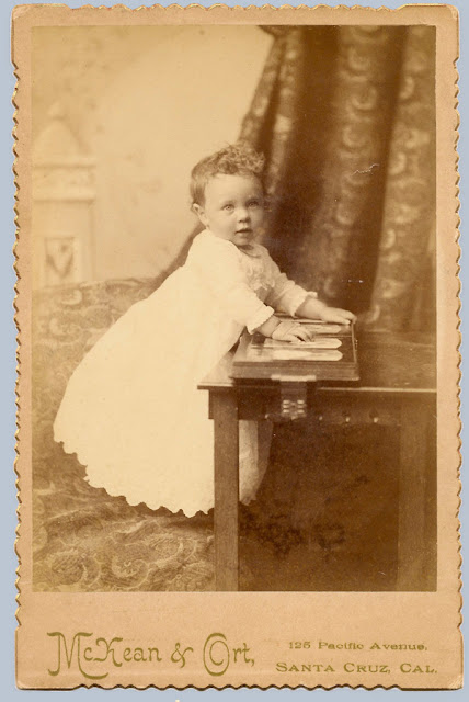 Photo of young boy, about a year old, taken in 1889, Santa Cruz, CA. Raymond E. Lockwood.
